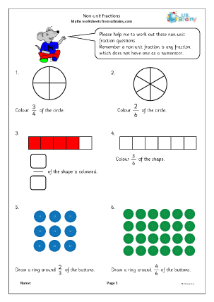 Preview of worksheet Non unit fractions