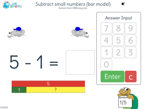 Preview of game Subtract small numbers (bar model)