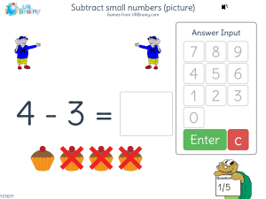 Preview of game Subtract small numbers (images)