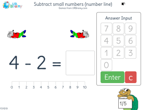 Preview of game Subtract small numbers (number line)