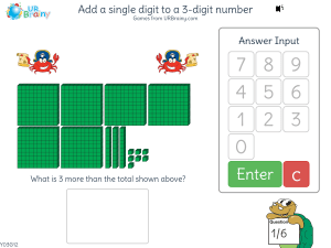 Preview of game Add a single digit to a 3-digit number (crossing tens)