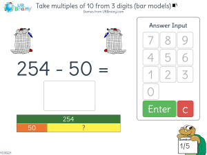 Preview of game Take multiples of 10 from 3 digits (bar models)