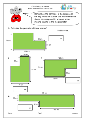 Preview of worksheet Calculate the perimeter of shapes (1)