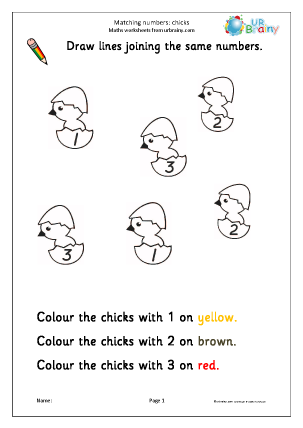 Preview of worksheet Recognising numbers: chicks