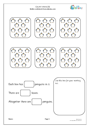 Preview of worksheet Count in tens (3)