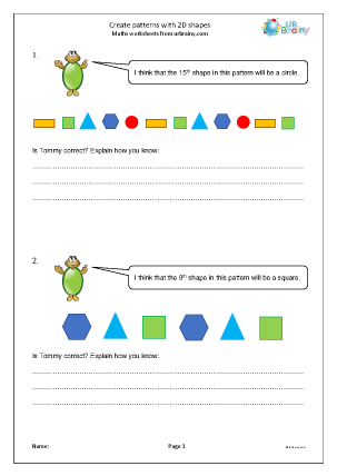 Preview of worksheet Create patterns with 2D shapes