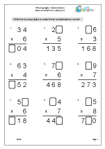 Multiplication: missing digits 2 x 1