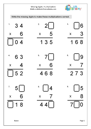 Preview of worksheet Multiplication: missing digits 2 x 1