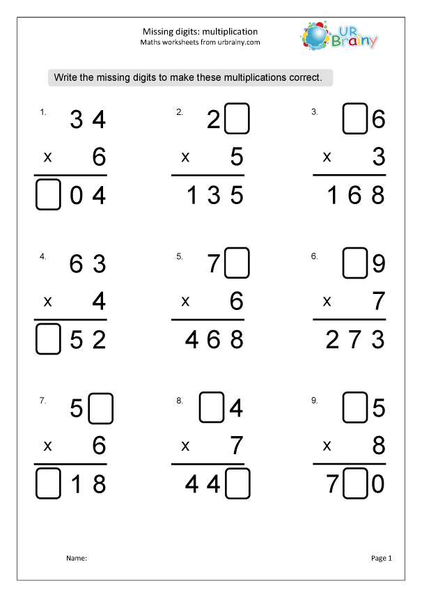 Preview of 'Multiplication: missing digits 2 x 1'