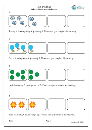 Preview of worksheet Recognising equal groups (2)