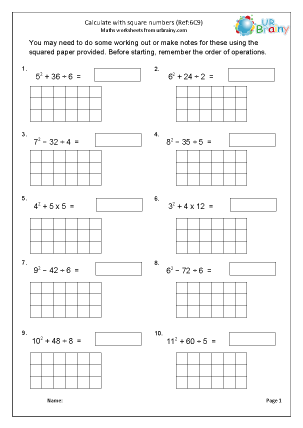 Preview of worksheet Calculating with square numbers (6C9)