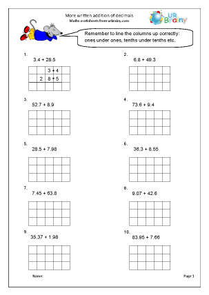 Preview of worksheet More written addition of decimals