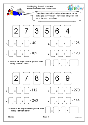 Preview of worksheet Multiplying 3 small numbers