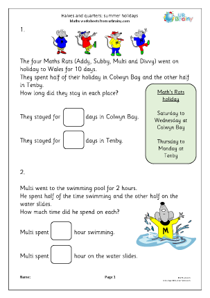 Preview of worksheet Halves and quarters: summer holidays