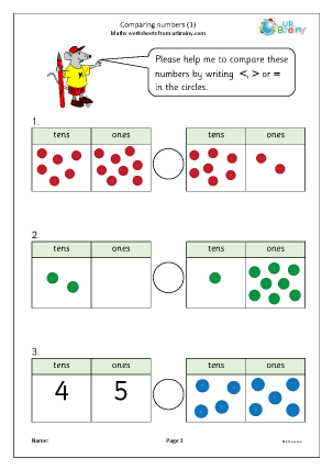 Preview of worksheet Comparing numbers (1)