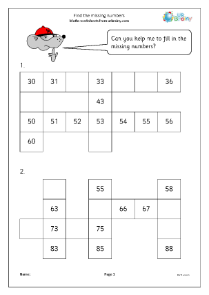 Preview of worksheet Find the missing numbers