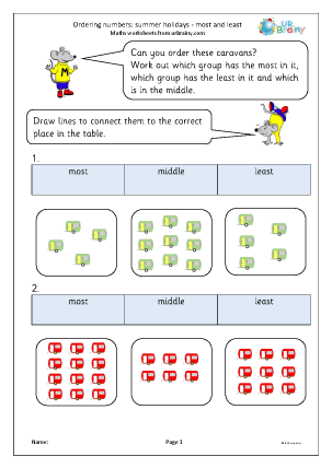 Preview of worksheet Ordering numbers: most and least in the summer holidays