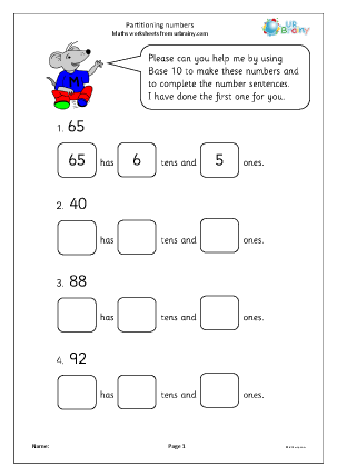 Preview of worksheet Partitioning numbers