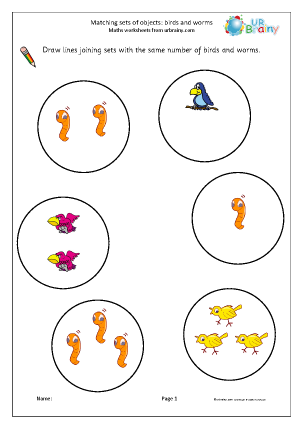 Preview of worksheet Matching objects: birds and worms