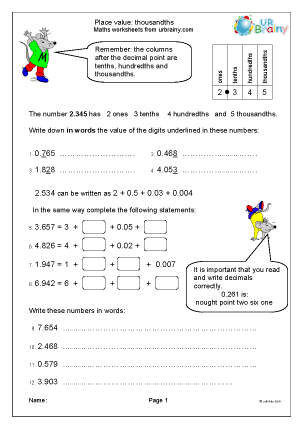 Preview of worksheet Place value: thousandths