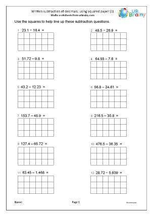 Preview of worksheet Subtracting decimals