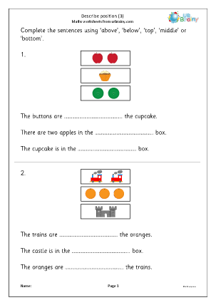 Preview of worksheet Describe position 3