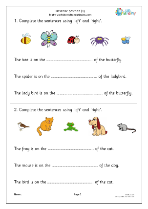 Preview of worksheet Describe position 1