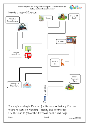 Preview of worksheet Describe position using left and right: summer holidays