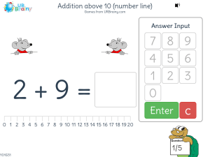 Preview of game Addition above 10 (number line)