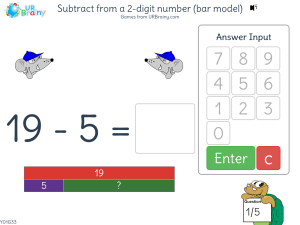 Preview of game Subtract from a 2-digit number not crossing tens  (bar model)