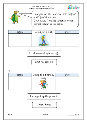 Preview of worksheet Time: before and after (2)