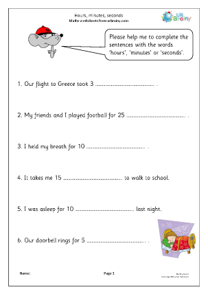 Preview of worksheet Hours, minutes and seconds