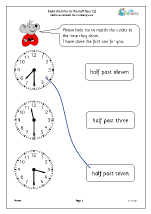 Read the time to the half hour 2