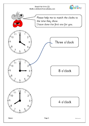 Preview of worksheet Read the time 2