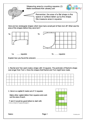 Preview of worksheet Measuring area by counting squares (2)