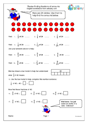 Preview of worksheet Revise finding fractions of amounts