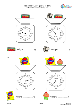 Preview of worksheet Problem solving using weights up to 200g