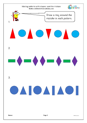 Preview of worksheet Making patterns with shapes: spot the mistake