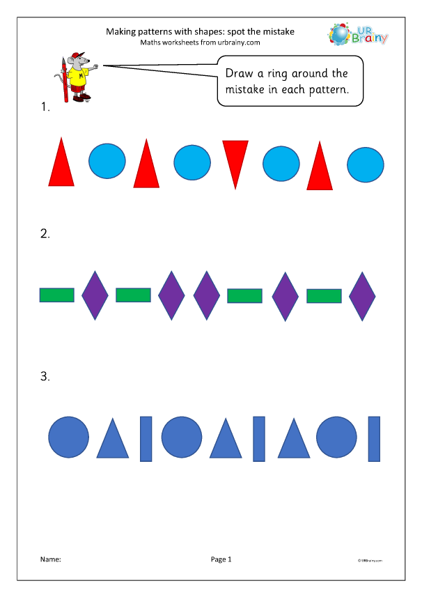 Preview of 'Making patterns with shapes: spot the mistake'