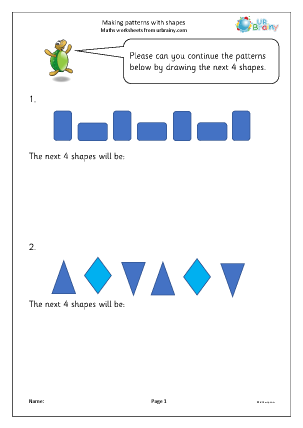 Preview of worksheet Making patterns with shapes