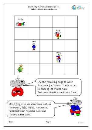 Preview of worksheet Describing movements and turns (4)