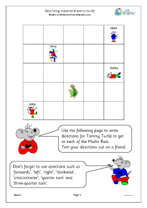 Preview of worksheet Describing movements and turns (3)