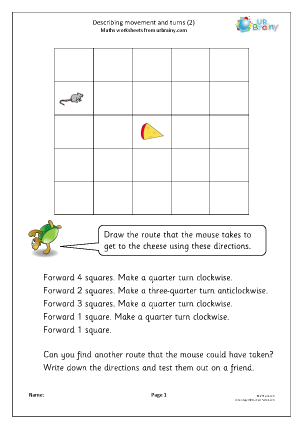 Preview of worksheet Describing movements and turns (2)