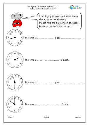 Preview of worksheet Revise telling the time to the half hour (2)