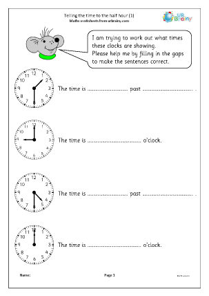 Preview of worksheet Revise telling the time to the half hour (1)