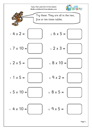 Urbrainy maths worksheets year 2 age 6 7 multiplication two five