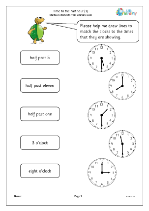 Preview of worksheet Time to the half hour (1)