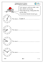 Telling the time to 5 minutes