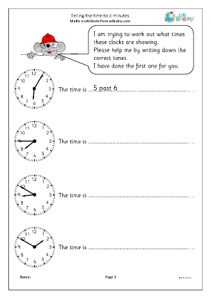 Preview of worksheet Telling the time to 5 minutes