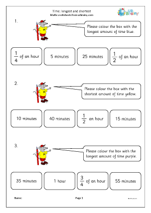 Preview of worksheet Time: longest and shortest